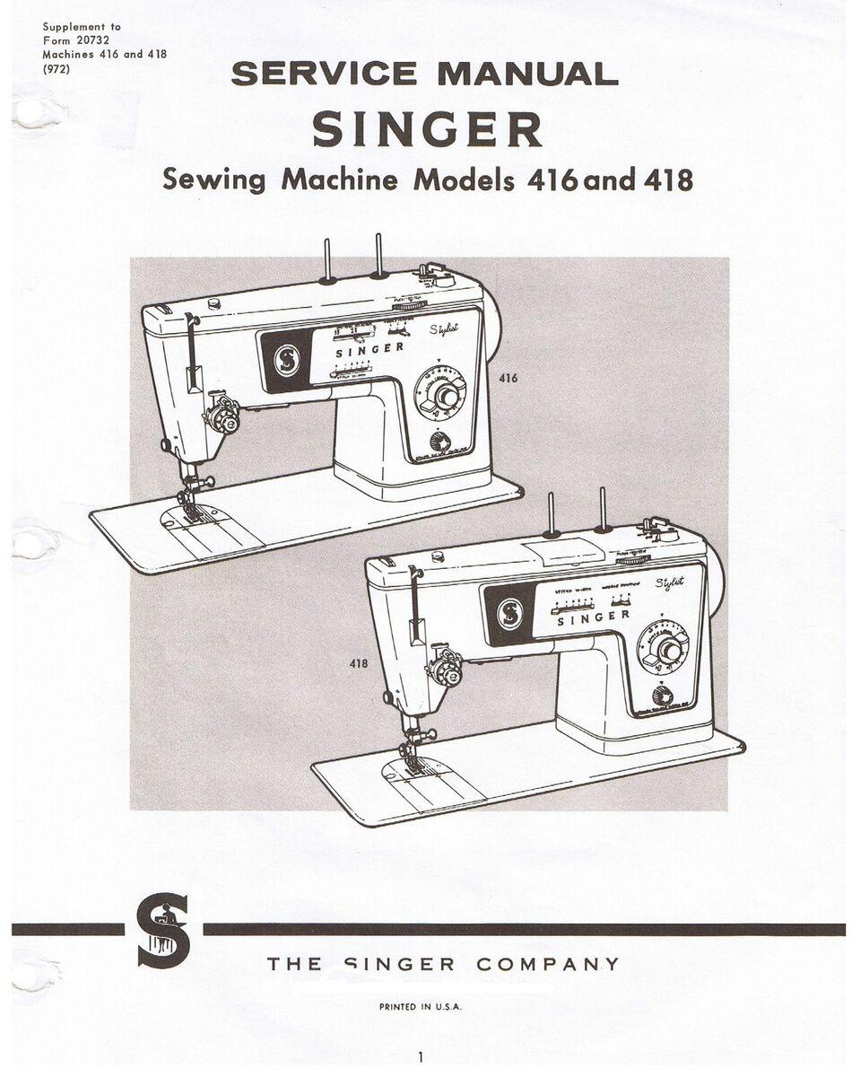 Singer Stylist Sewing Machine Models 416 418 Service Repair Manual 648 Threading Diagram