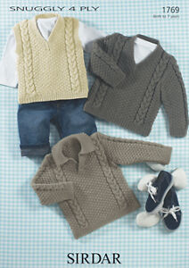 Sirdar Baby Knitting Pattern - Sweater and Hats - 1769 - Snuggly 4 Ply