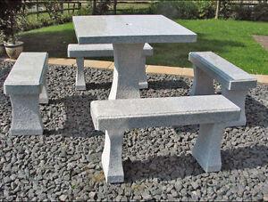 sitzgruppe gartenm bel quadratisch mit 4 b nken aus granit ebay. Black Bedroom Furniture Sets. Home Design Ideas