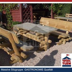 HOQ Sitzgruppe Rustikal Biertischgarnitur aus Holz ...