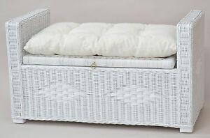 sitztruhe inkl kissen rattan sitzbank hocker bank truhe. Black Bedroom Furniture Sets. Home Design Ideas