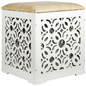 sitzw rfel romantico hocker stauraum deckel wei blumen aufbewahrung neu ebay. Black Bedroom Furniture Sets. Home Design Ideas