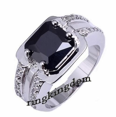 Size 8 & 10 Jewelry New Man's Black Sapphire 10KT White Gold Filled Ring Gift in Jewelry & Watches, Men's Jewelry, Rings | eBay