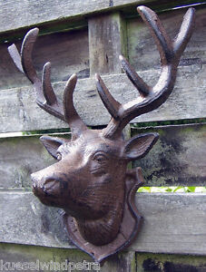 Skulptur Hirsch Wandh Nger Eisen Wanddeko Hirschkopf