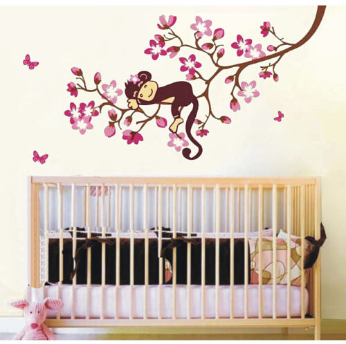 Sleeping Monkey on tree wall decal for baby bedroom nursery wall art mural in Baby, Nursery Decor, Wall Decor | eBay