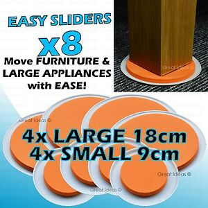 Slide Move Heavy Furniture Easily New Gliders Sliders Movers 8 Piece Pack Ebay