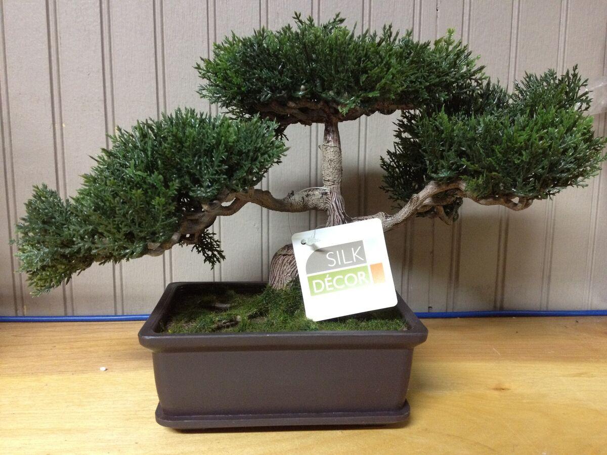 Small Artificial Bonsai Silk Tree Fake Plant Japanese Japan Floral