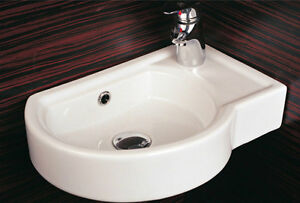 Square Corner Sink : ... Cloakroom Basin Bathroom Sink Offset Round Square Corner RH 430 eBay