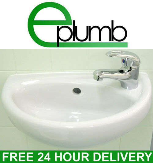 Small Compact Mini Tiny Bathroom Cloakroom Basin Sink Wall Hung Curved ...
