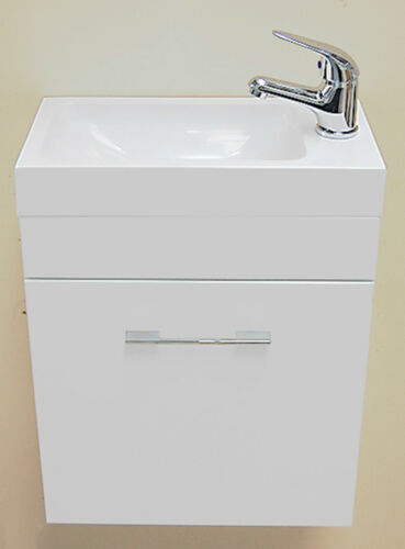 White small compact basin vanity unit bathroom cloakroom furniture 400 - Small Compact Mini Wall Hung Square Basin Cloakroom