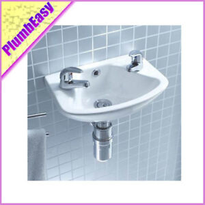 Small Hand Sink : Details about Small Hand Wash Cloakroom Basin/Sink 360mm 2 Tap Holes