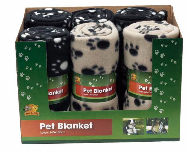 Small Medium Large Black or Brown Paw Print Pet Cat Dog Fleece Soft Blanket