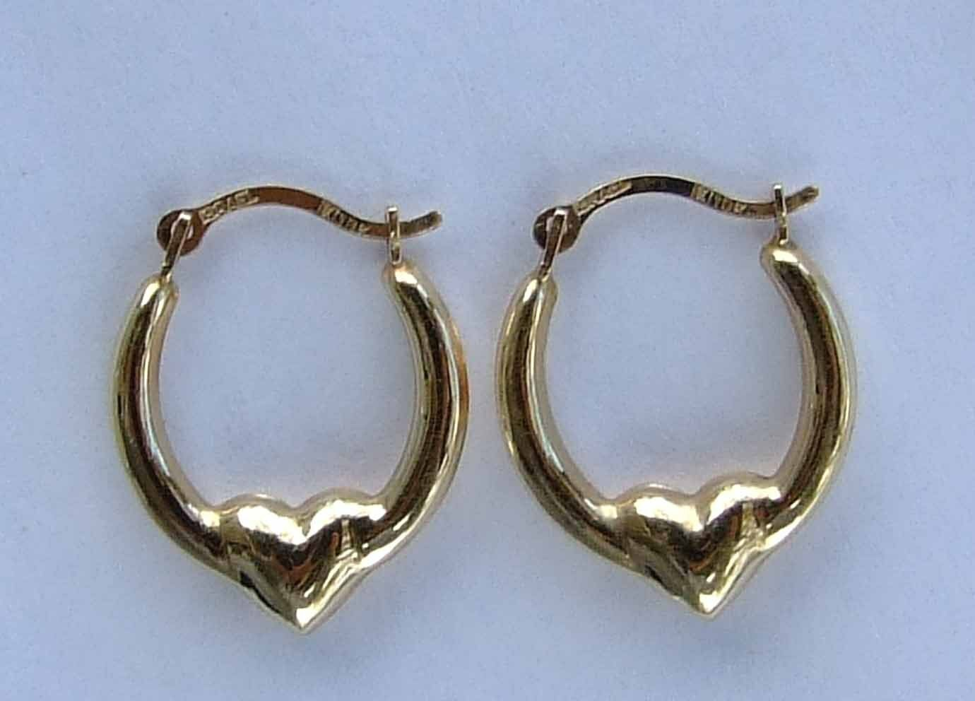 Small Puff Heart Hoop Earrings W/ Smooth Finish