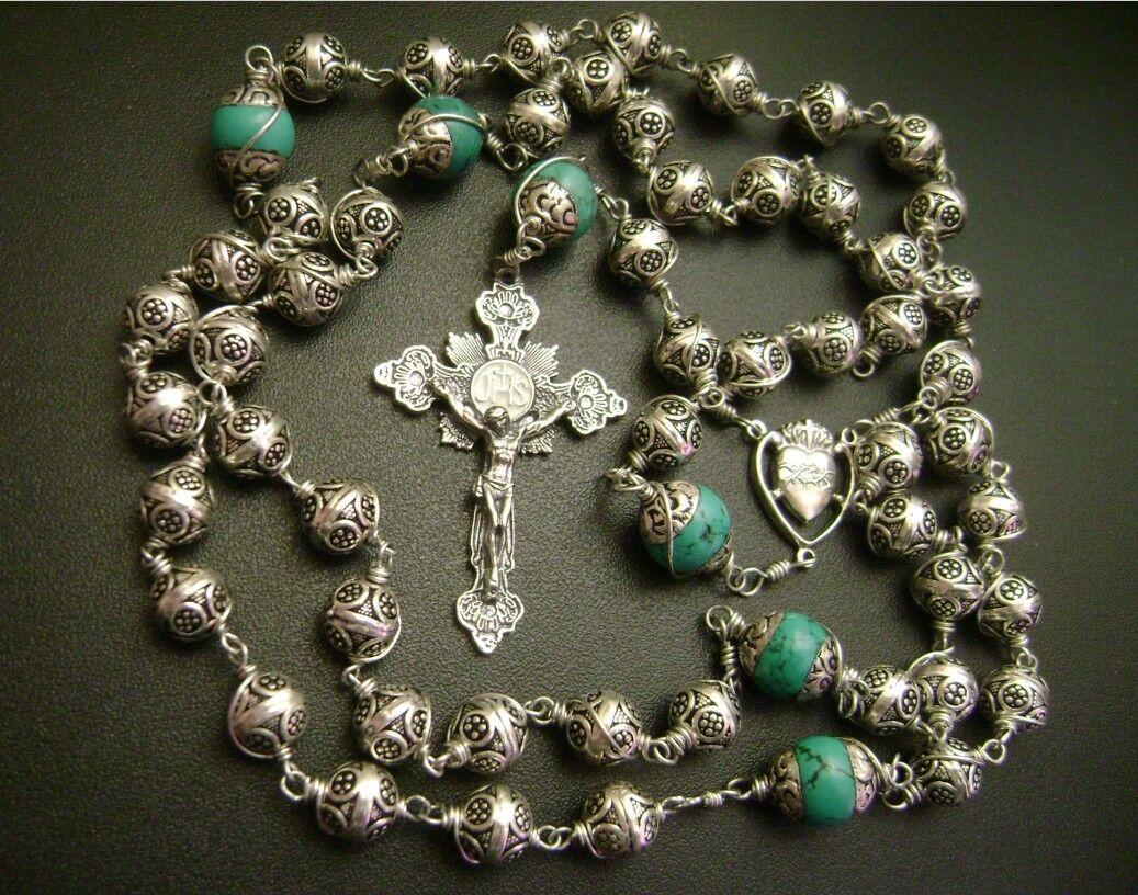 sterling silver cross handmade rosary box stations