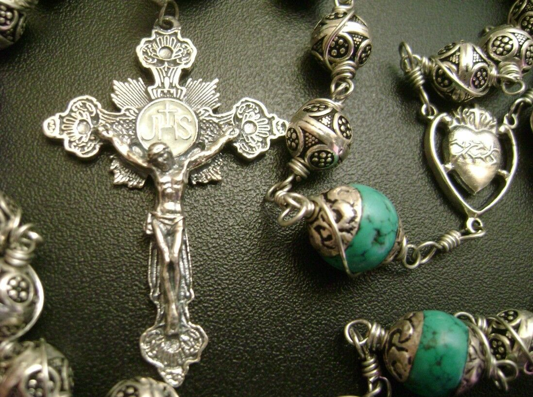 Sterling Silver Beads Cross Handmade Rosary Amp Box Stations