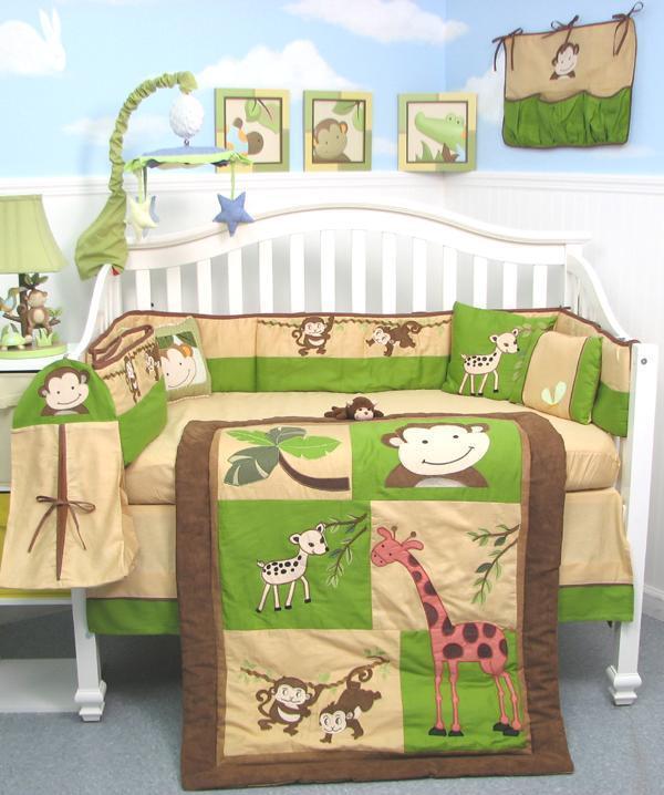 SoHo Monkey Savannah Baby Crib Nursery Bedding Set 13 pcs included Diaper Bag