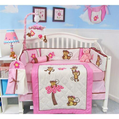 SoHo Pink Monkey Party Baby Crib Nursery Bedding Set 13 pcs included Diaper Bag in Baby, Nursery Bedding, Crib Bedding | eBay
