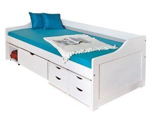 sofabett kojenbett 90x200 cm funktionsbett schlafsofa massivholz holzbett wei ebay. Black Bedroom Furniture Sets. Home Design Ideas