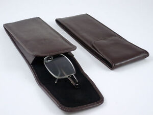 Soft-SLIP-IN-SPECTACLE-Glasses-CASE-Dark-Brown-Leather-look-Pouch-SPEC-CASE