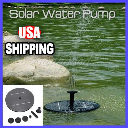 Solar Panel Power Water Floating Pump Fountain Pool Garden Plants