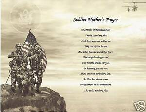 Soldier mother prayer poem personalized name military ebay
