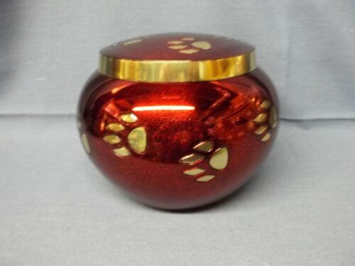 Solid Brass Red & Black w/Gold Paw Prints Pet Urn~Small~28 lbs in Everything Else, Funeral & Cemetery, Cremation Urns | eBay