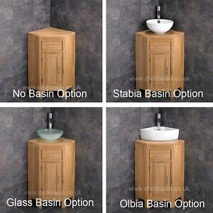 solid oak corner bathroom vanity unit cabinet ceramic bowl