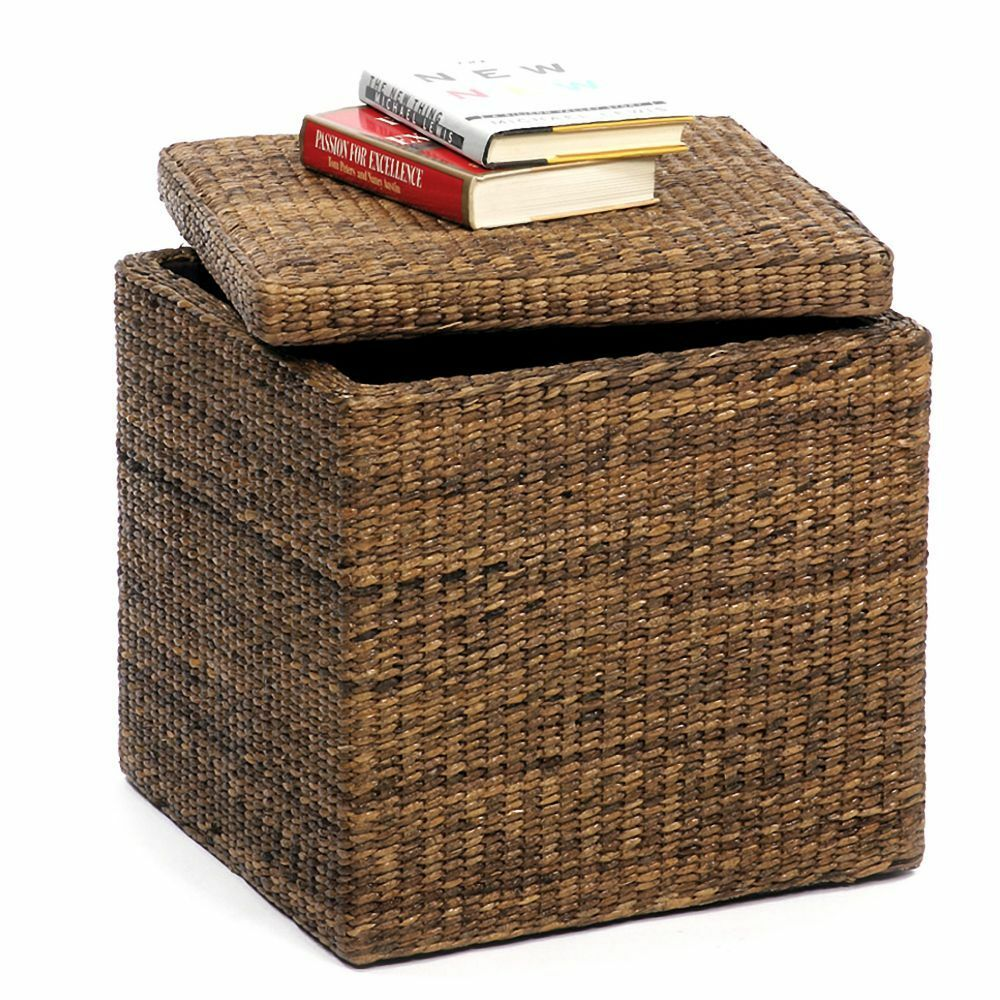 solid wood frame decorative storage cube box ottoman coffee table stool with lid ebay. Black Bedroom Furniture Sets. Home Design Ideas