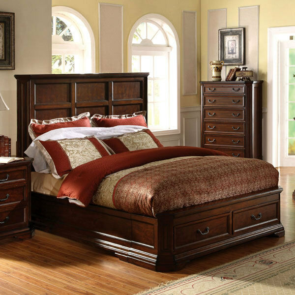 solid wood louisa antique cherry oak finish bed frame on popscreen. Black Bedroom Furniture Sets. Home Design Ideas