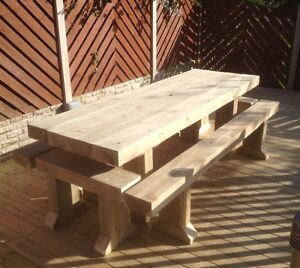Solid-Wooden-Sleeper-Outside-Or-Inside-Table-And-4-Benches-Garden-Furniture