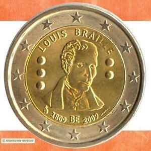 Sondermuenzen-Belgien-2-Euro-Muenze-2009-L-Braille-Sondermuenze-zwei-Gedenkmuenze