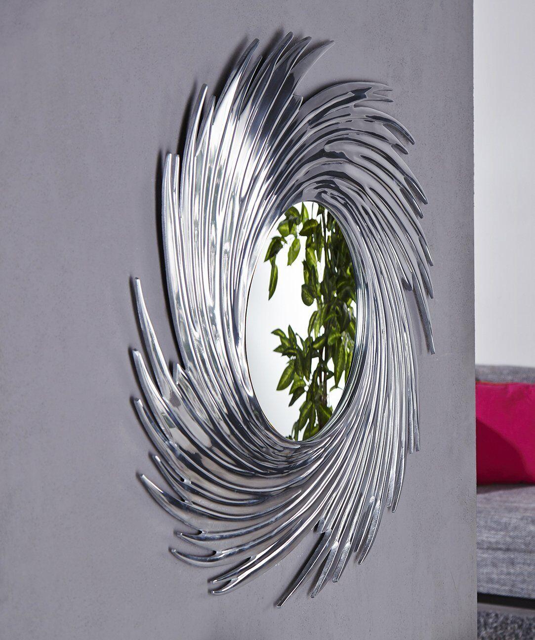 sonne rund runder wandspiegel 80 cm durchmesser in silber aluminium rahmen ebay. Black Bedroom Furniture Sets. Home Design Ideas