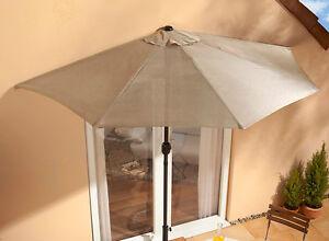 sonnenschirm f r balkon terrasse sonnenschutz gartenschirm halbrund in beige neu ebay. Black Bedroom Furniture Sets. Home Design Ideas