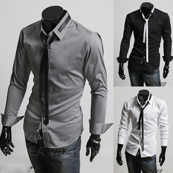 Fashion mens luxury stylish casual dress slim fit t shirts for Casual shirt and tie