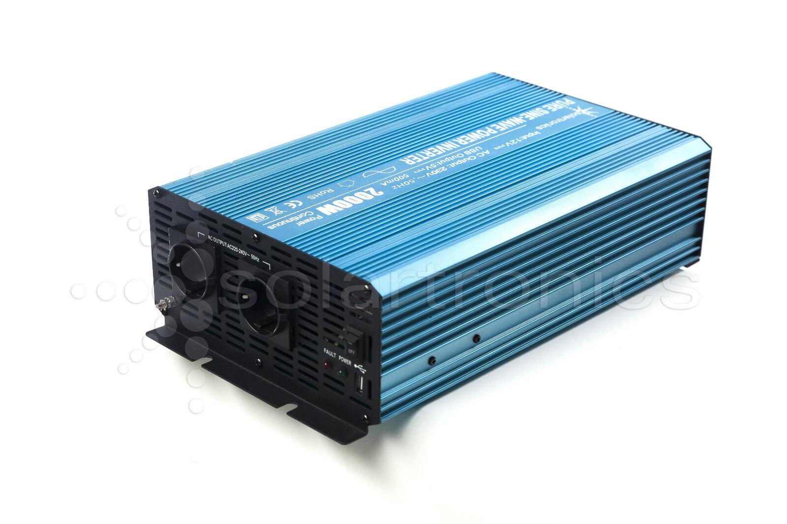 1200W 2400W Reiner Sinus Spannungswandler 12V auf 230V Inverter Wechselrichter