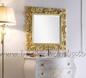 Specchio specchiera barocco legno foglia oro argento su for Specchio barocco argento