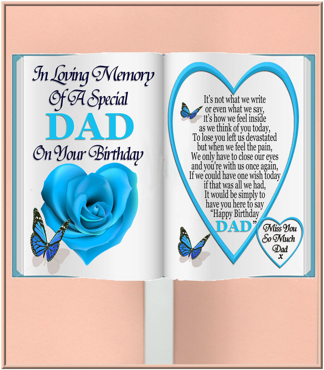 Special Dad Birthday Book Shaped Memorial Card Holder