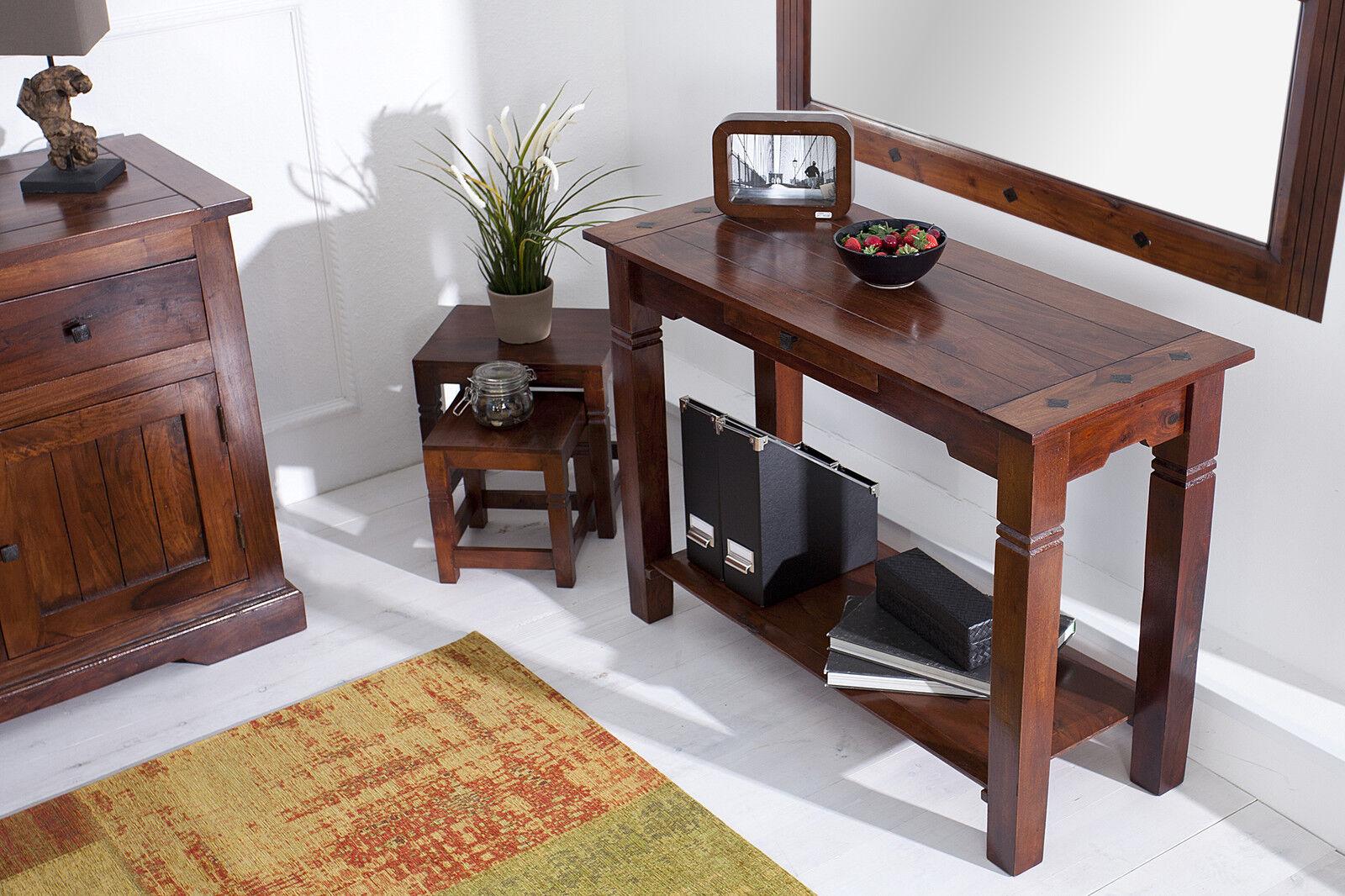 spiegel konsole set massivholz sheesham mit beschl ge aus metall mit schublade ebay. Black Bedroom Furniture Sets. Home Design Ideas