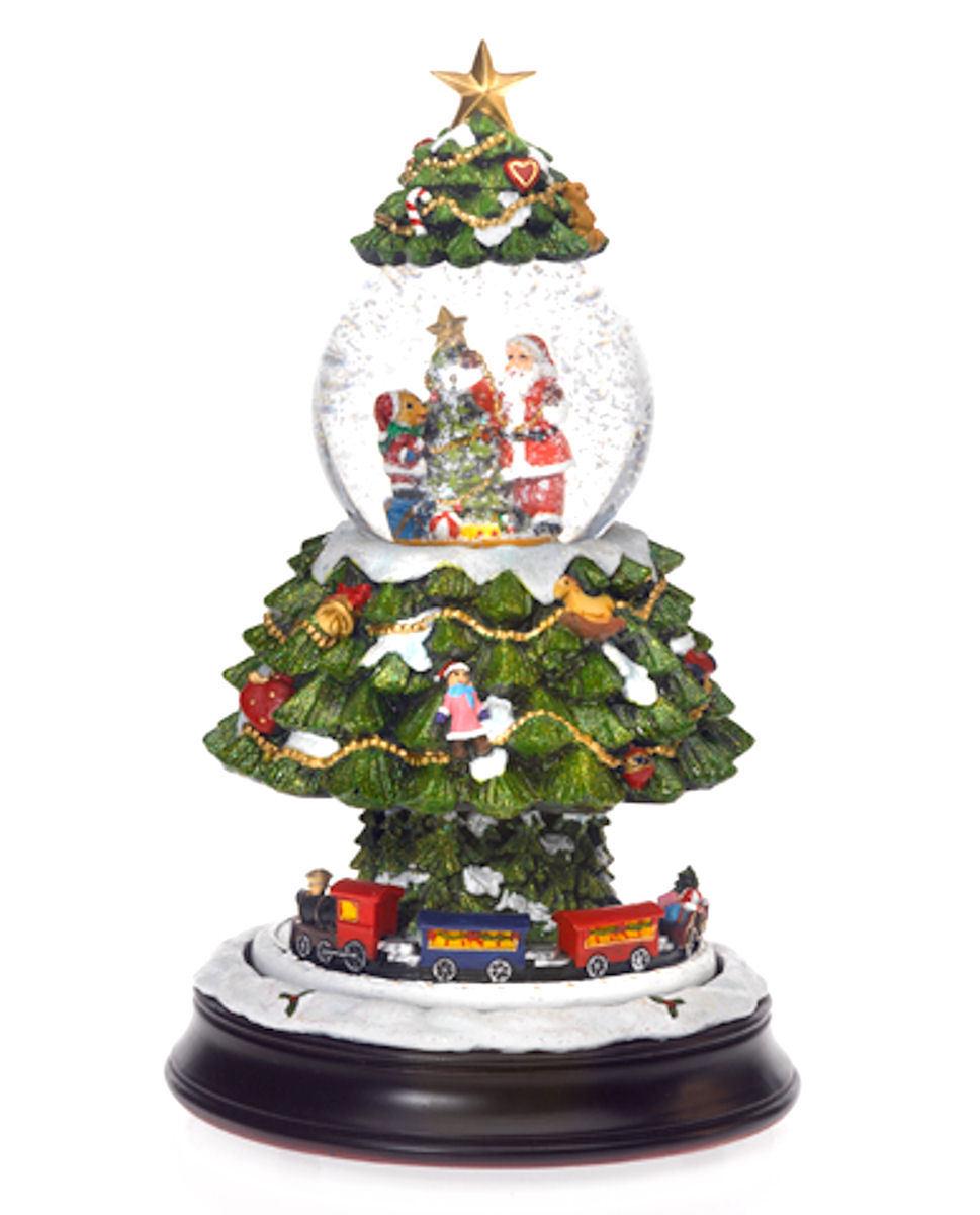 spieluhr weihnachten schneekugel selbstschneiend mit zug weihnachtsbaum 402469 ebay. Black Bedroom Furniture Sets. Home Design Ideas