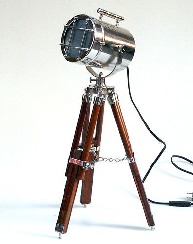 Beautiful vintage small chrome decorative spotlight lamp wood adjustable tripod ebay - Tripod spotlight lamp ...