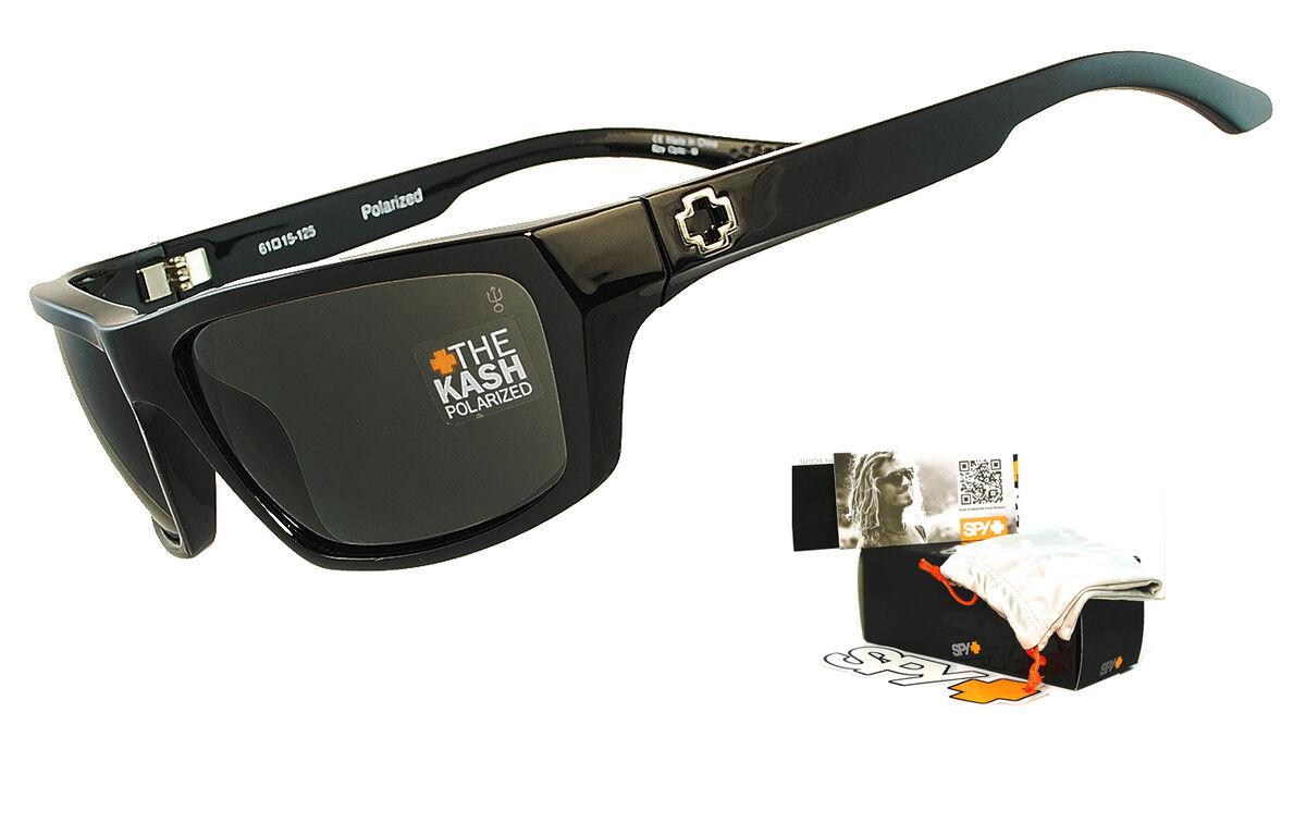 72dbd88098a Spy Kash Mens Sunglasses Gloss Black Frame Grey Polarized Lens on ...