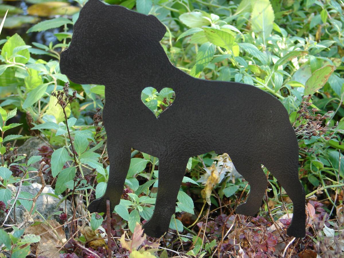 Staffordshire Bull Terrier Garden Stake Pet Memorial Metal Lawn Ornament Dog K9