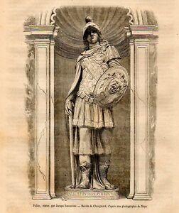 Stampa antica atena pallade statua di jacopo sansovino for Finestra antica aperta