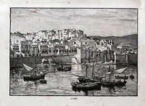 Stampa antica veduta di algiers algeri barche da pesca for Finestra antica aperta