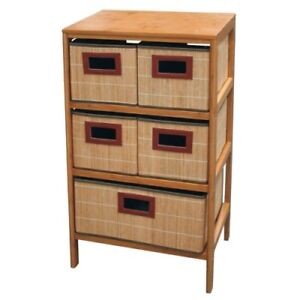 standregal 5 bambusk rbe schrank regal holz bambus korb. Black Bedroom Furniture Sets. Home Design Ideas