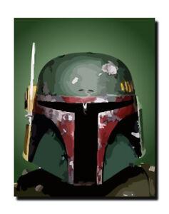 star wars - boba fett - original vector art canvas. | ebay
