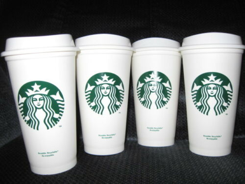 Starbucks Coffee Reusable SET OF 4 to go Plastic Cups 16 oz in Collectibles, Advertising, Food & Beverage | eBay