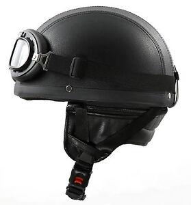 stark h110 leder retro helm motorradhelm oldtimerhelm. Black Bedroom Furniture Sets. Home Design Ideas