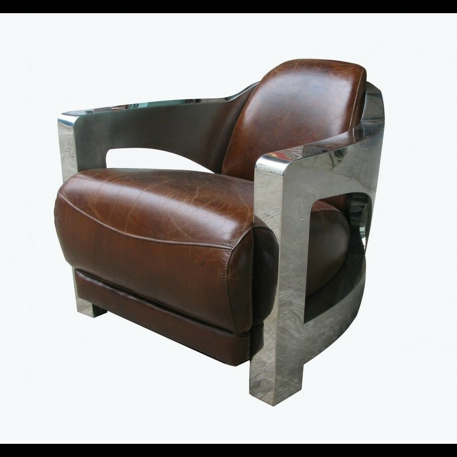 36 W Polished Stainless Steel Frame Club Chair Vintage Cigar Brown Leat