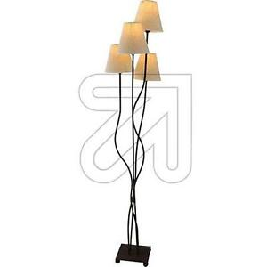 stehlampe metall rostfarben schrim beige stehleuchte lampe landhaus mediterran ebay. Black Bedroom Furniture Sets. Home Design Ideas